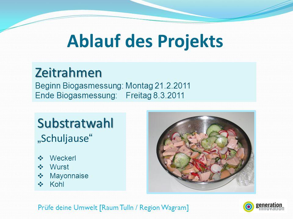 Zeitrahmen Beginn Biogasmessung: Montag 21.2.2011 Ende Biogasmessung: Freitag 8.3.2011 Ablauf des Projekts Substratwahl Schuljause Weckerl Wurst Mayon