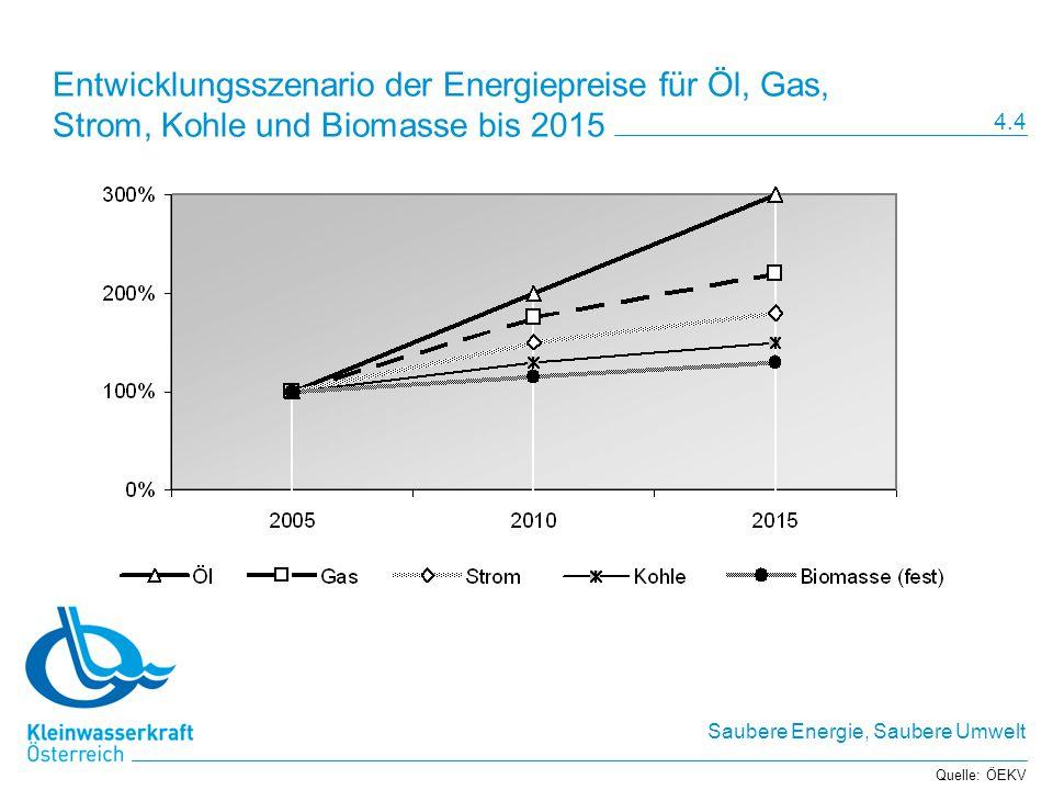 Saubere Energie, Saubere Umwelt Einspeisetarife im Vergleich zum Marktpreis Quelle: Energie-Control GmbH Marktwert von Strom 4,785 Cent/kWh per 1.7.2005 (nach 3,646 per 1.10.2004) 4.5