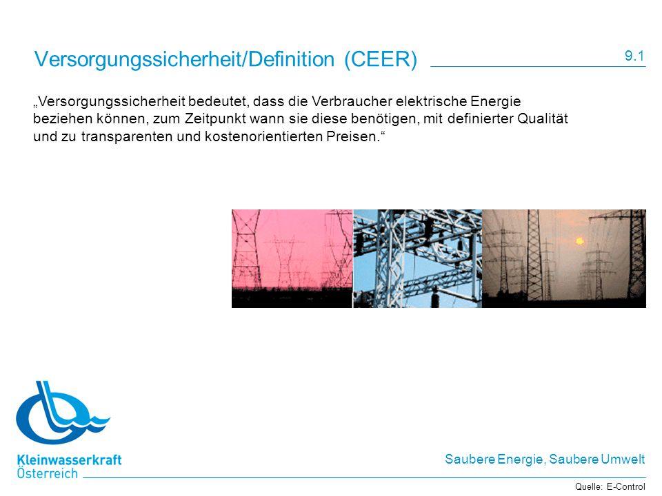 Saubere Energie, Saubere Umwelt Versorgungssicherheit/Definition (CEER) Versorgungssicherheit bedeutet, dass die Verbraucher elektrische Energie bezie