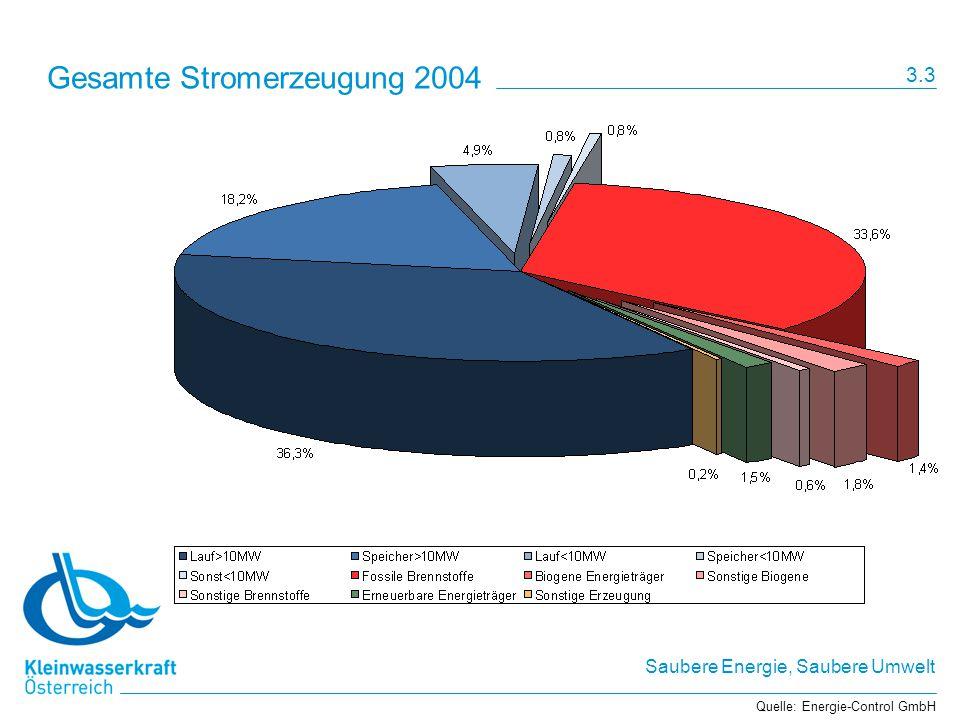Saubere Energie, Saubere Umwelt Gesamte Stromerzeugung 2004 Quelle: Energie-Control GmbH 3.3