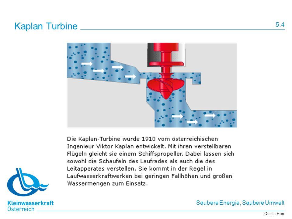 Saubere Energie, Saubere Umwelt Kaplan Turbine Quelle:Eon 5.4