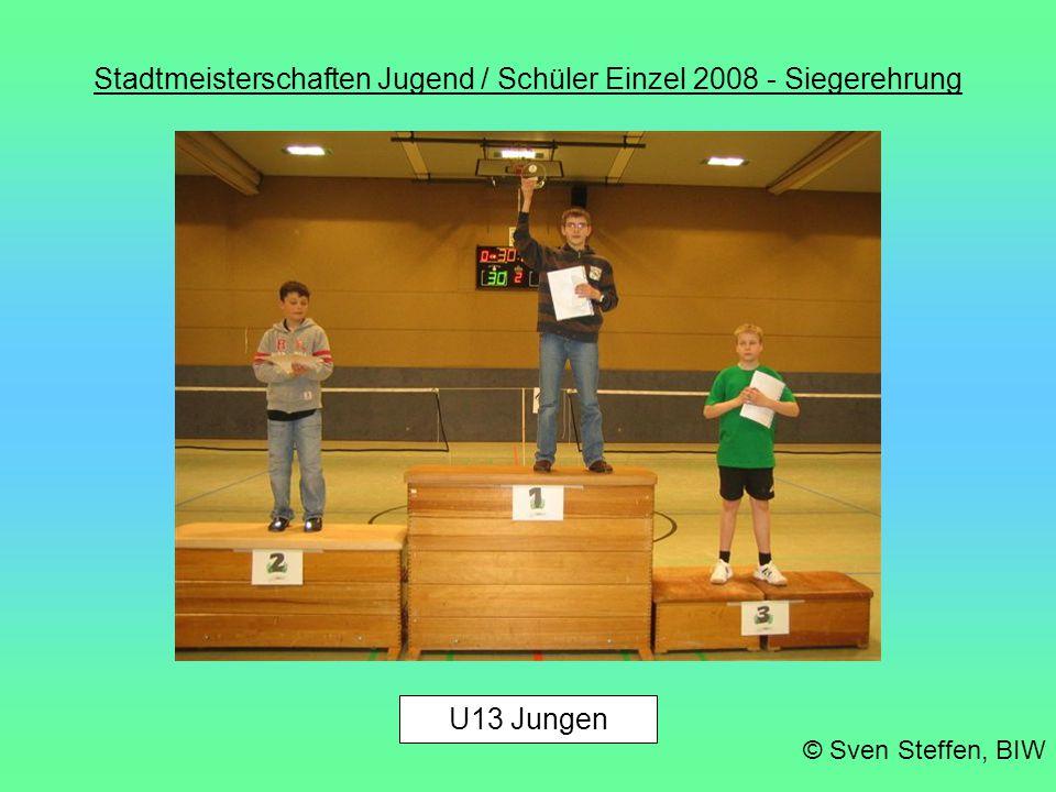 Stadtmeisterschaften Jugend / Schüler Einzel 2008 - Siegerehrung © Sven Steffen, BIW U13 Jungen