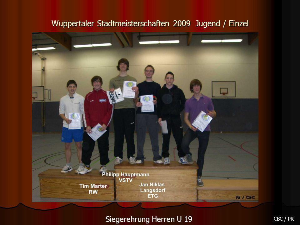 Wuppertaler Stadtmeisterschaften 2009 Jugend / Einzel CBC / PR Siegerehrung Herren U 19