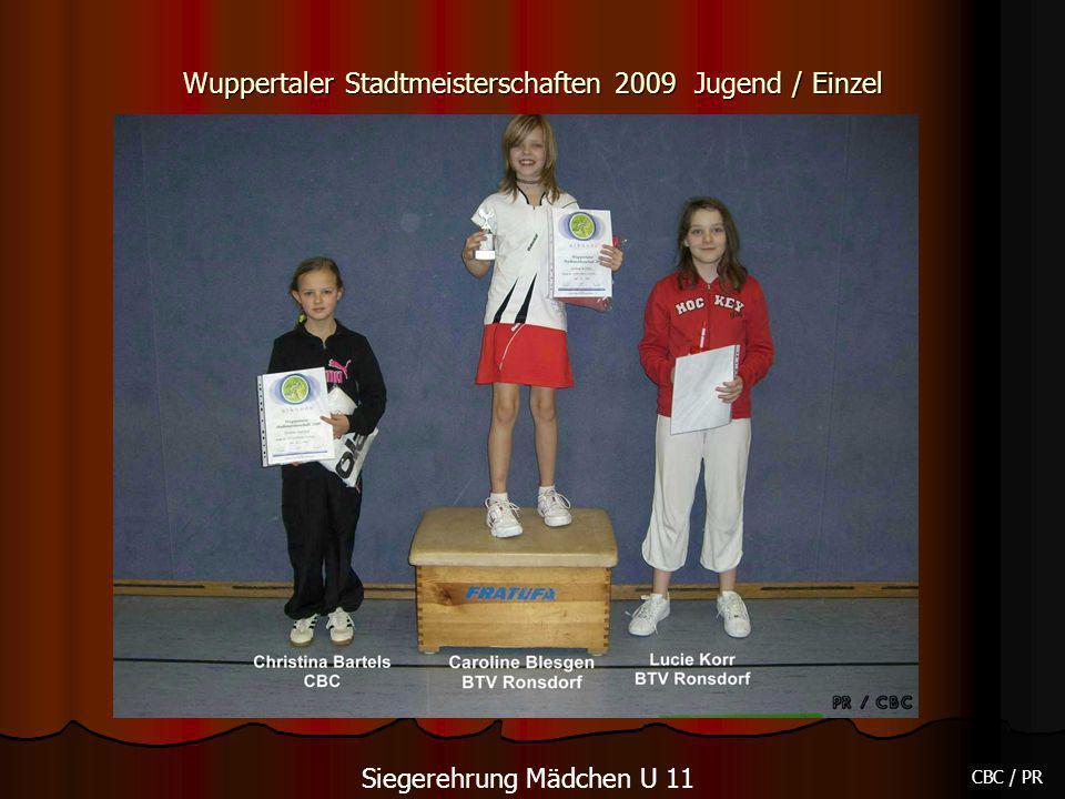 Wuppertaler Stadtmeisterschaften 2009 Jugend / Einzel CBC / PR Siegerehrung Mädchen U 11