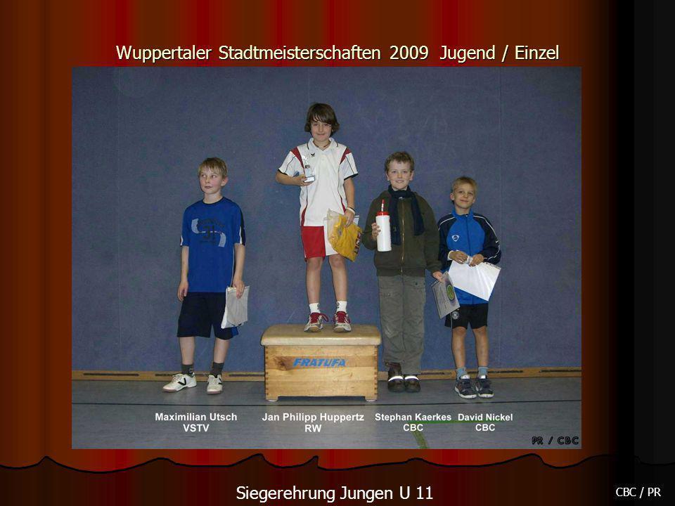 Wuppertaler Stadtmeisterschaften 2009 Jugend / Einzel CBC / PR Siegerehrung Jungen U 11
