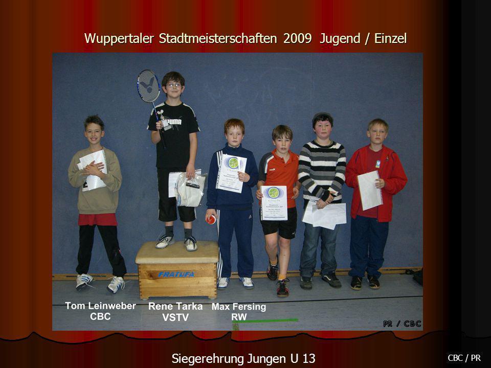 Wuppertaler Stadtmeisterschaften 2009 Jugend / Einzel CBC / PR Siegerehrung Jungen U 13