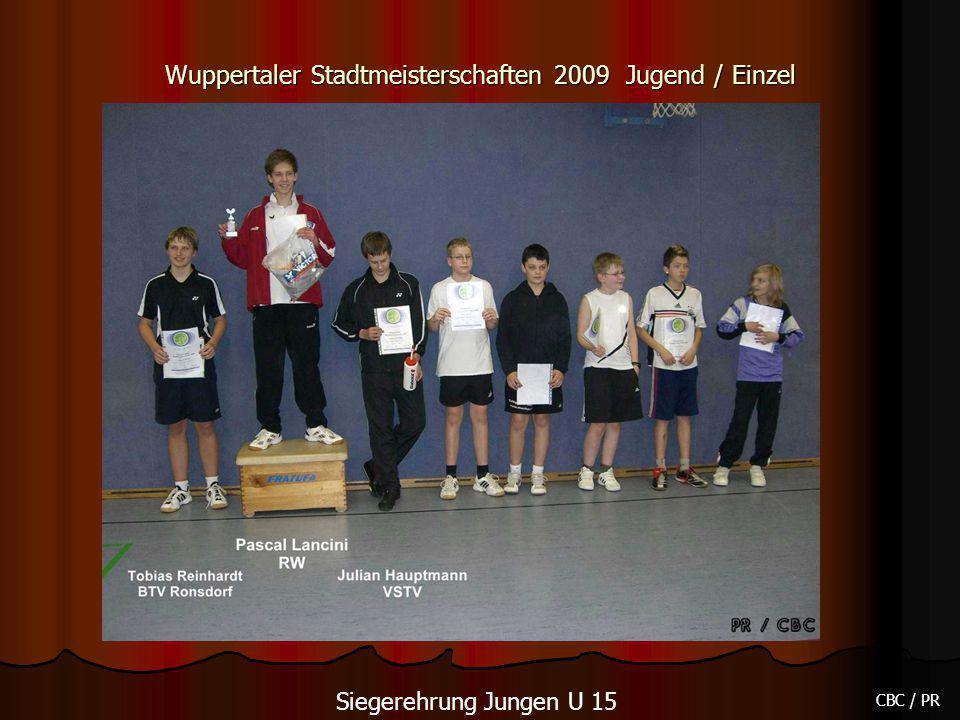 Wuppertaler Stadtmeisterschaften 2009 Jugend / Einzel CBC / PR Siegerehrung Jungen U 15