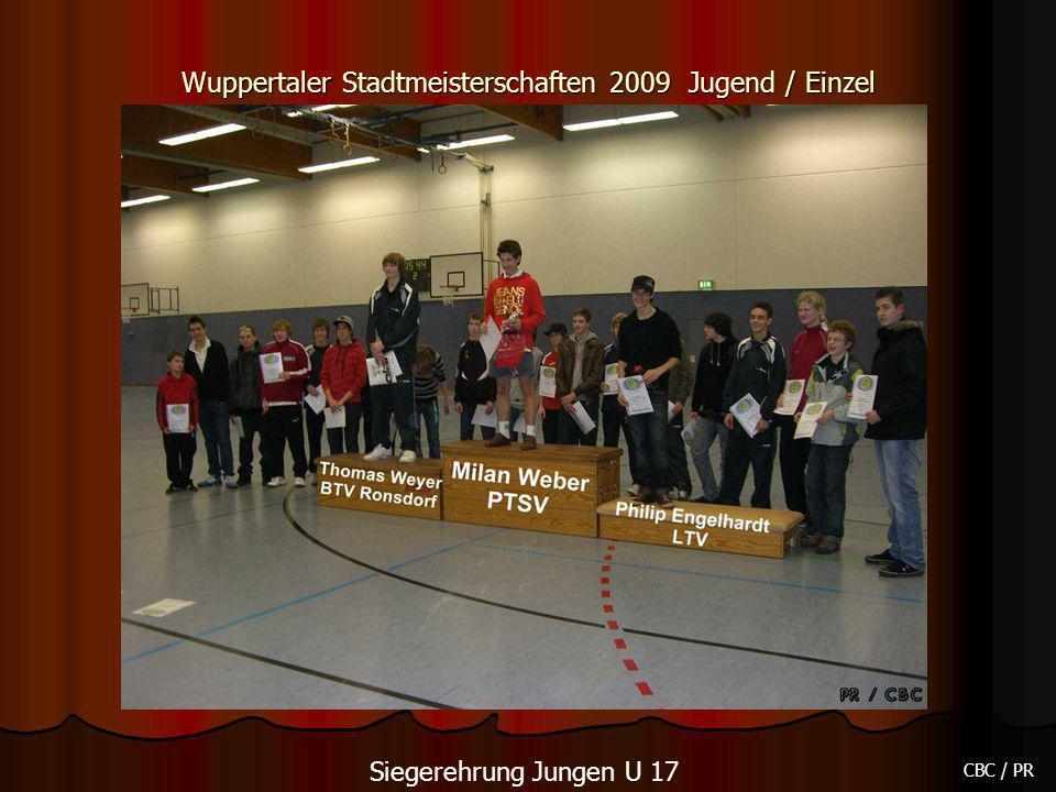 Wuppertaler Stadtmeisterschaften 2009 Jugend / Einzel CBC / PR Siegerehrung Jungen U 17
