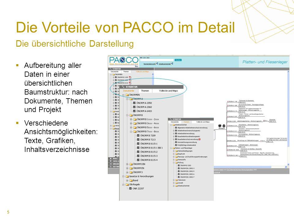 5 Die Vorteile von PACCO im Detail Die übersichtliche Darstellung Aufbereitung aller Daten in einer übersichtlichen Baumstruktur: nach Dokumente, Themen und Projekt Verschiedene Ansichtsmöglichkeiten: Texte, Grafiken, Inhaltsverzeichnisse