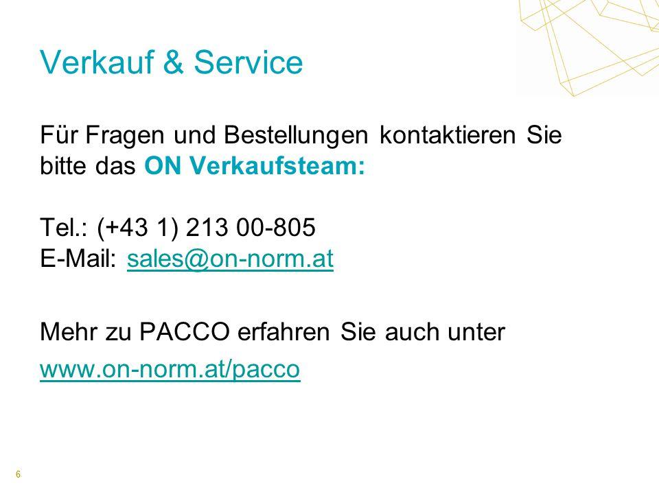 6 Verkauf & Service Für Fragen und Bestellungen kontaktieren Sie bitte das ON Verkaufsteam: Tel.: (+43 1) 213 00-805 E-Mail: sales@on-norm.atsales@on-norm.at Mehr zu PACCO erfahren Sie auch unter www.on-norm.at/pacco