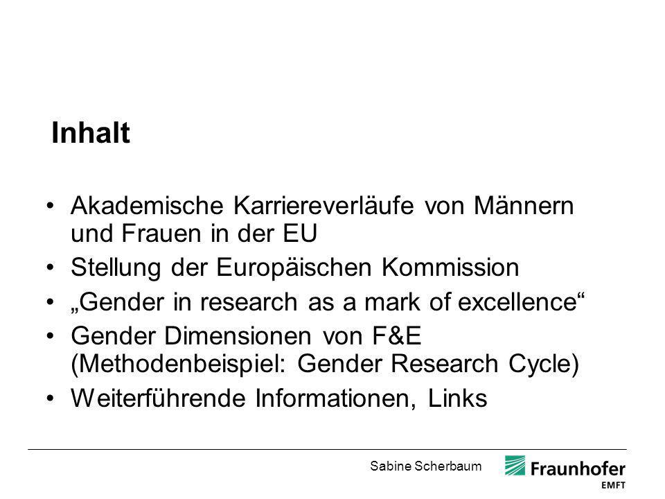 Sabine Scherbaum Weiterführende Informationen Zum Thema Gender in EU funded Research The Gender Challenge in Research Funding.