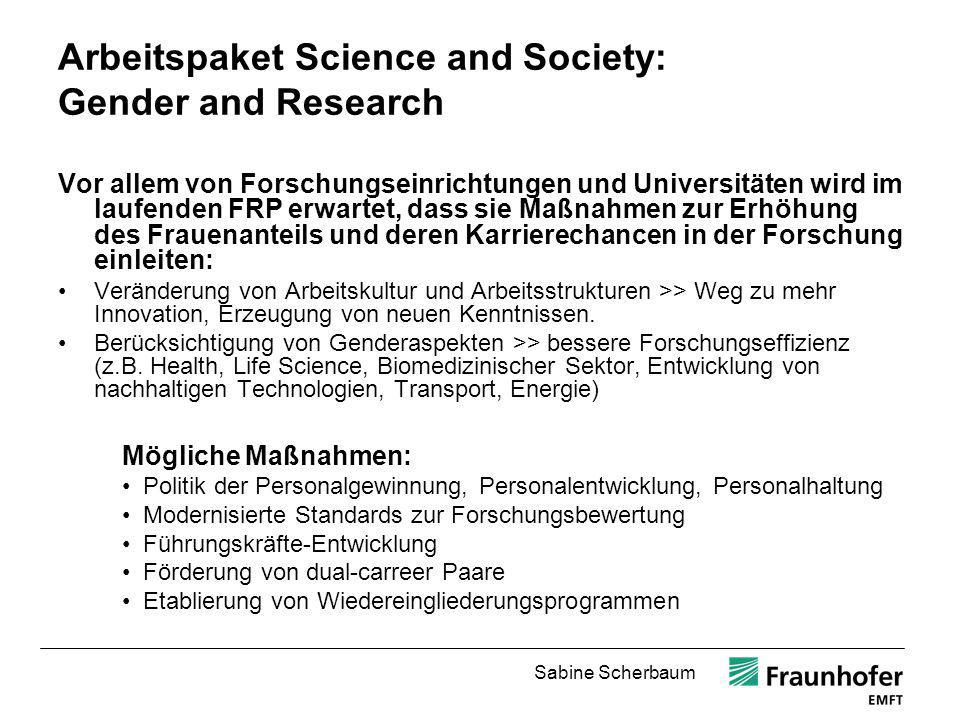 Sabine Scherbaum Gender in research as a mark of excellence Gefördert 2009/2010