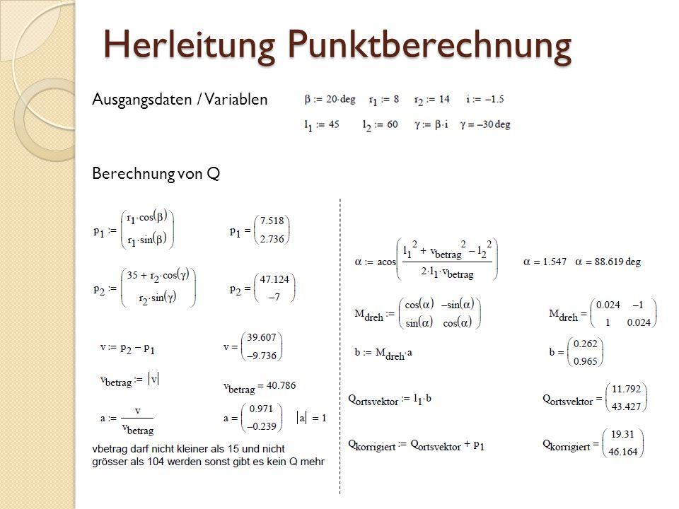 Herleitung Punktberechnung Berechnung von Q Ausgangsdaten / Variablen