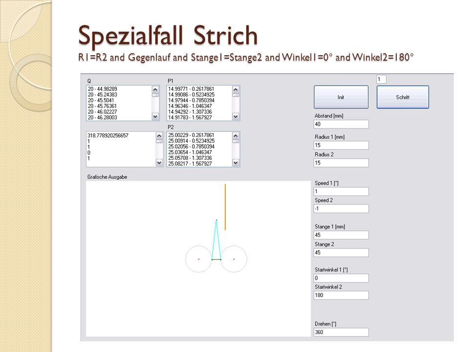 Spezialfall Kreis R1=R2 and Gleichlauf and Stange1=Stange2 and Winkel1=0° and Winkel2=0°