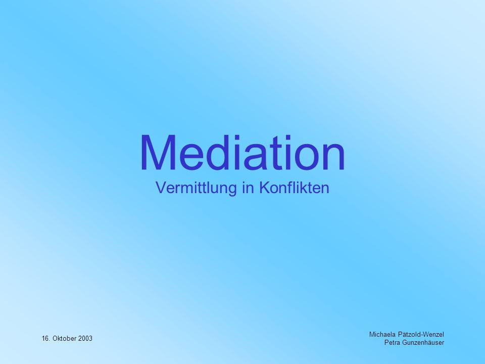 16. Oktober 2003 Michaela Pätzold-Wenzel Petra Gunzenhäuser Mediation Vermittlung in Konflikten