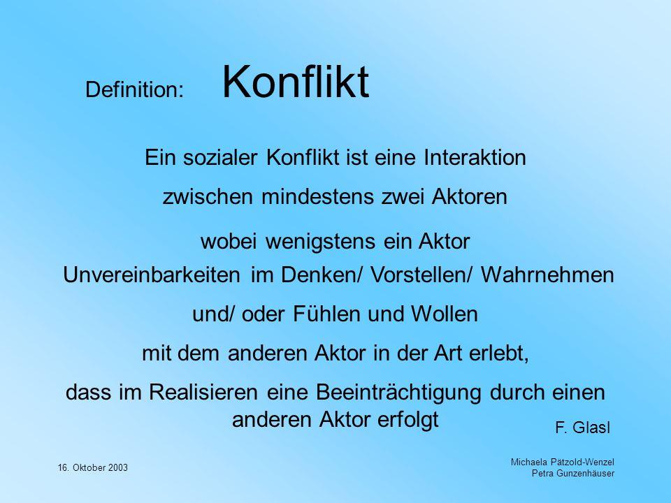 16. Oktober 2003 Michaela Pätzold-Wenzel Petra Gunzenhäuser Definition: Konflikt Ein sozialer Konflikt ist eine Interaktion zwischen mindestens zwei A