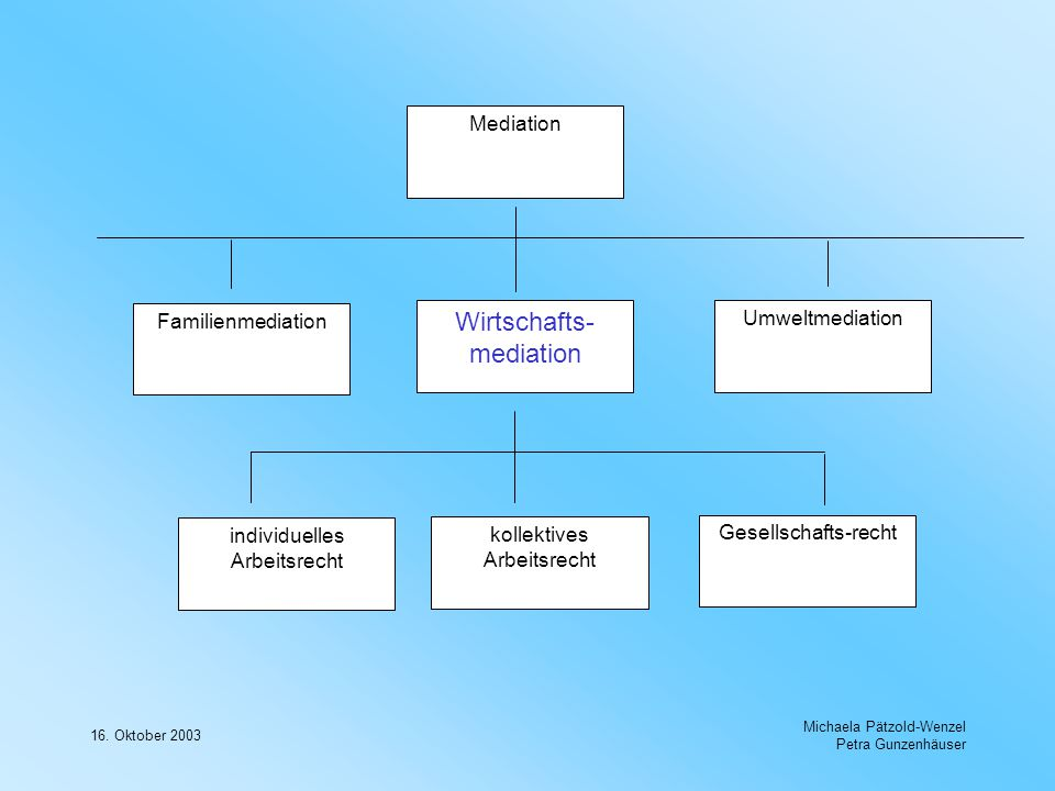 16. Oktober 2003 Michaela Pätzold-Wenzel Petra Gunzenhäuser Mediation Familienmediation Wirtschafts- mediation individuelles Arbeitsrecht Umweltmediat