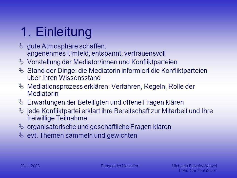 20.11.2003Phasen der MediationMichaela Pätzold-Wenzel Petra Gunzenhäuser.