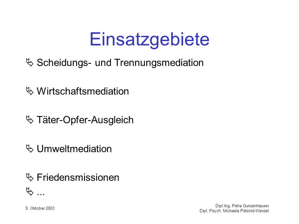 9. Oktober 2003 Dipl.Ing. Petra Gunzenhäuser Dipl. Psych. Michaela Pätzold-Wenzel Einsatzgebiete Scheidungs- und Trennungsmediation Wirtschaftsmediati