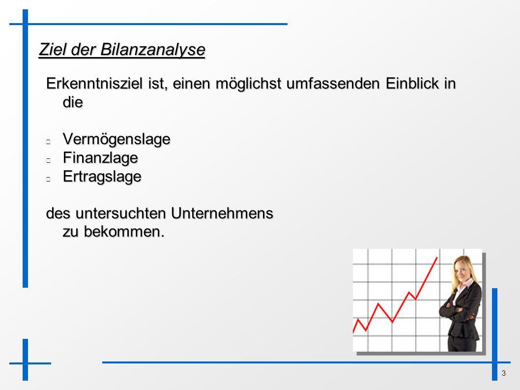 3 Ziel der Bilanzanalyse Erkenntnisziel ist, einen möglichst umfassenden Einblick in die VermögenslageFinanzlageErtragslage des untersuchten Unternehm