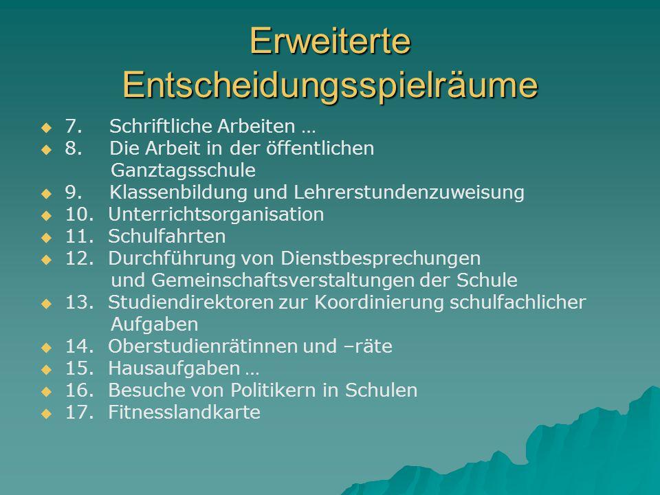 Erweiterte Entscheidungsspielräume 7.Schriftliche Arbeiten … 8.
