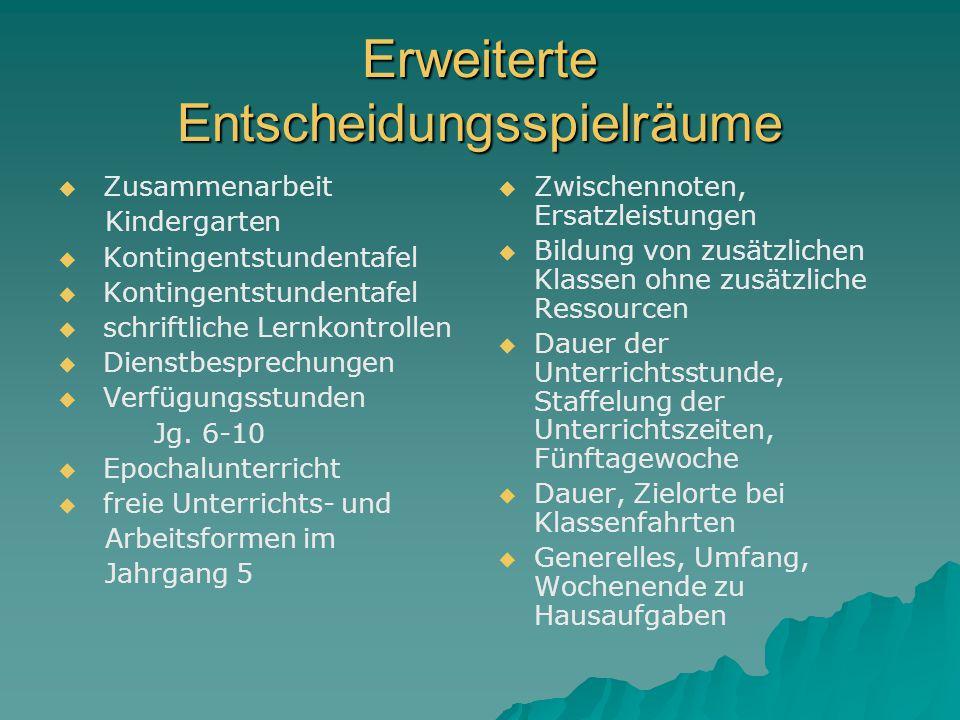 Erweiterte Entscheidungsspielräume Zusammenarbeit Kindergarten Kontingentstundentafel schriftliche Lernkontrollen Dienstbesprechungen Verfügungsstunden Jg.