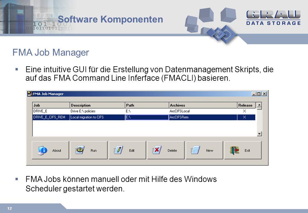 12 Software Komponenten Eine intuitive GUI für die Erstellung von Datenmanagement Skripts, die auf das FMA Command Line Inferface (FMACLI) basieren.