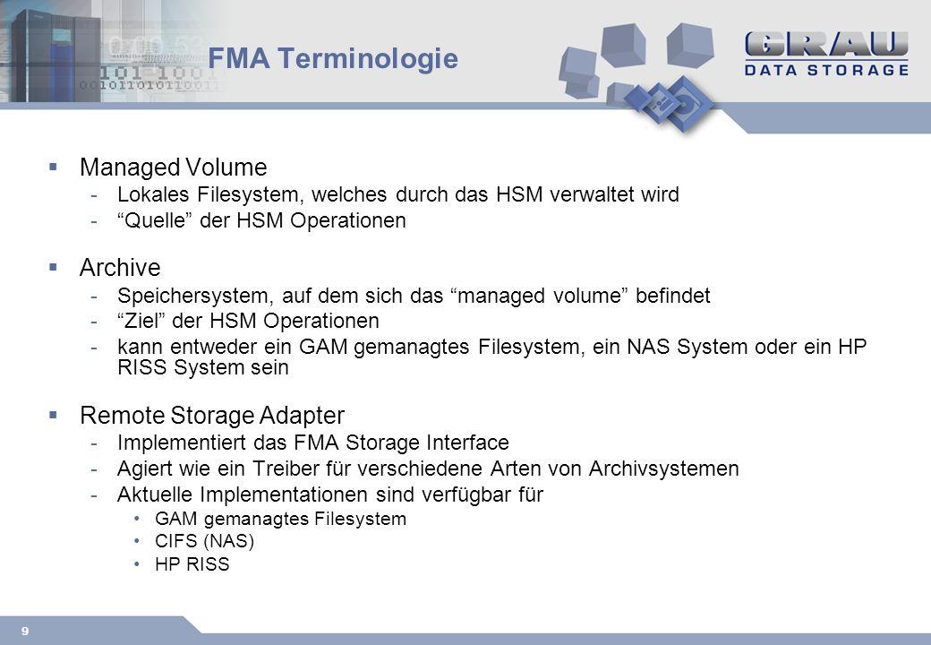 9 FMA Terminologie Managed Volume -Lokales Filesystem, welches durch das HSM verwaltet wird -Quelle der HSM Operationen Archive -Speichersystem, auf dem sich das managed volume befindet -Ziel der HSM Operationen -kann entweder ein GAM gemanagtes Filesystem, ein NAS System oder ein HP RISS System sein Remote Storage Adapter -Implementiert das FMA Storage Interface -Agiert wie ein Treiber für verschiedene Arten von Archivsystemen -Aktuelle Implementationen sind verfügbar für GAM gemanagtes Filesystem CIFS (NAS) HP RISS