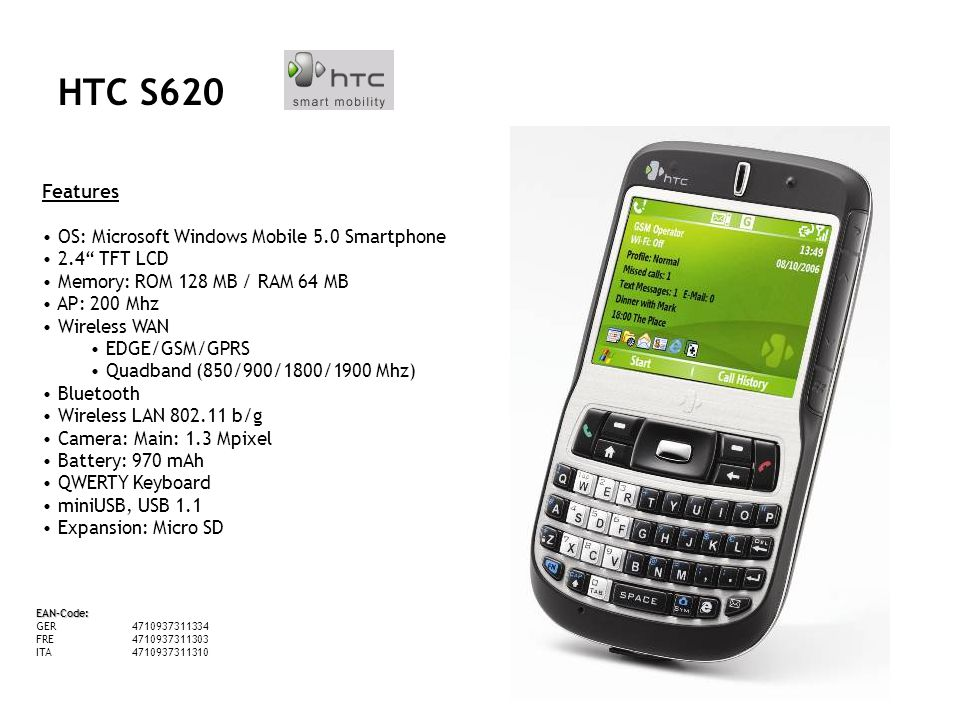 HTC S620 Features OS: Microsoft Windows Mobile 5.0 Smartphone 2.4 TFT LCD Memory: ROM 128 MB / RAM 64 MB AP: 200 Mhz Wireless WAN EDGE/GSM/GPRS Quadband (850/900/1800/1900 Mhz) Bluetooth Wireless LAN 802.11 b/g Camera: Main: 1.3 Mpixel Battery: 970 mAh QWERTY Keyboard miniUSB, USB 1.1 Expansion: Micro SD EAN-Code: GER4710937311334 FRE4710937311303 ITA4710937311310 HTC S620