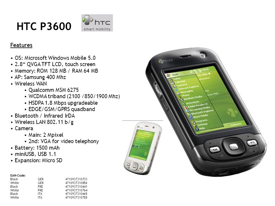 Features Betriebssystem: Windows Mobile 5.0 Speicher: 128MB Display: 240 x 320 Pixel, 65536 Farben Kamera: 1600 x 1200 Pixel, 8 fach Zoom Messaging: SMS, EMS, MMS, Videomessaging, E-Mail Speicherkartenerweiterung: MicroSD Bluetooth, Modem, GPRS, EDGE, WLAN QWERTZ-Tastatur UMTS-fähig MP3-Spieler, Viewer für Office-Formate Akku-Laufzeit: 240 Std Stand-by, 300 Min Sprechzeit Maße: 112 x 58 x 22 mm HTC TyTN