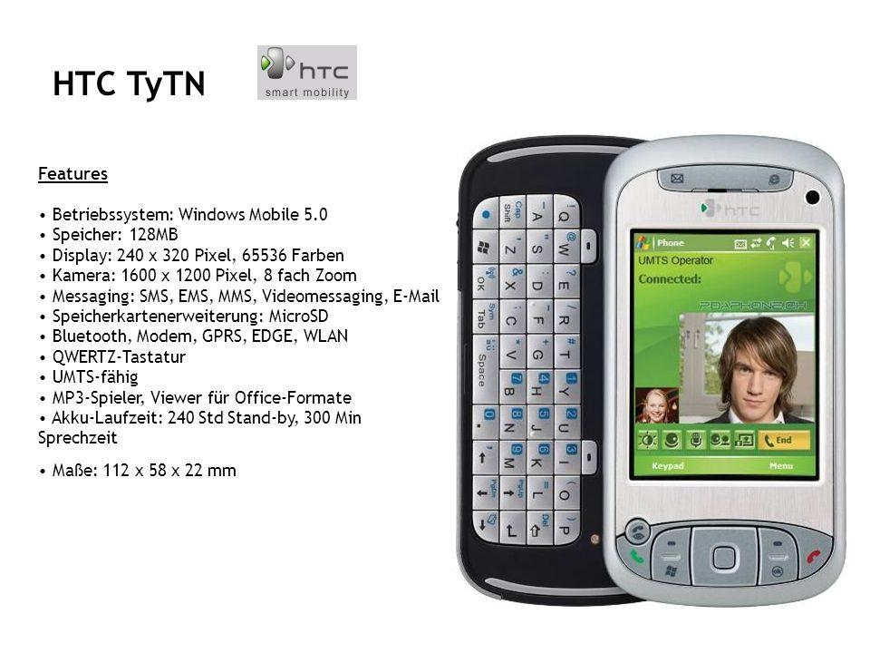 Features Betriebssystem Windows Mobile 5.0 Speicher 128MB ROM, 64MB RAM Display 2,8 TFT Touchscreen, 240 x 320 Pixel, 65.000 Farben Speicherkartenerweiterung SD/MMC Schnittstellen Bluetooth, USB, IrDa, WLAN, Kopfhöreranschluss Special Features 2.0 Megapixel Kamera, Java-fähig EDGE, EGPRS Freisprechfunktion, Sprachwahl, Sprachaufzeichnung Excel mobile, Word mobile, Pocket Internet Explorer, Pocket Outlook MMS, SMS, E-Mail Maße 108,8 x 59,3 x 18,4 mm Gewicht 148 g QTEK S200