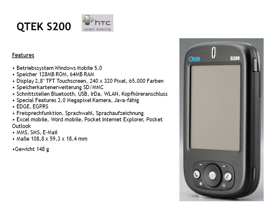 Features Pocket PC mit Telefonie- und Kamerafunktion - Quadband (850/900/1800/1900 MHz) - MS Windows Mobile 5.0 - 128 MB ROM, 64 MB SDRAM - 2.8 TFT-LC-Display, 240 x 320 Pixel, 64.000 Farben - Mini-SD-Cardreader - Bluetooth, WLAN IEEE 802.11b/g, Mini-USB, IrDA, Audioausgang - QWERTY-Tastatur mit 39 Tasten - Audio-Wiedergabe (WAV, WMA, AMR, AAC, MP3) - integrierte Digitalkamera mit Blitz, 1,3 Megapixel - bis zu 5 Std.