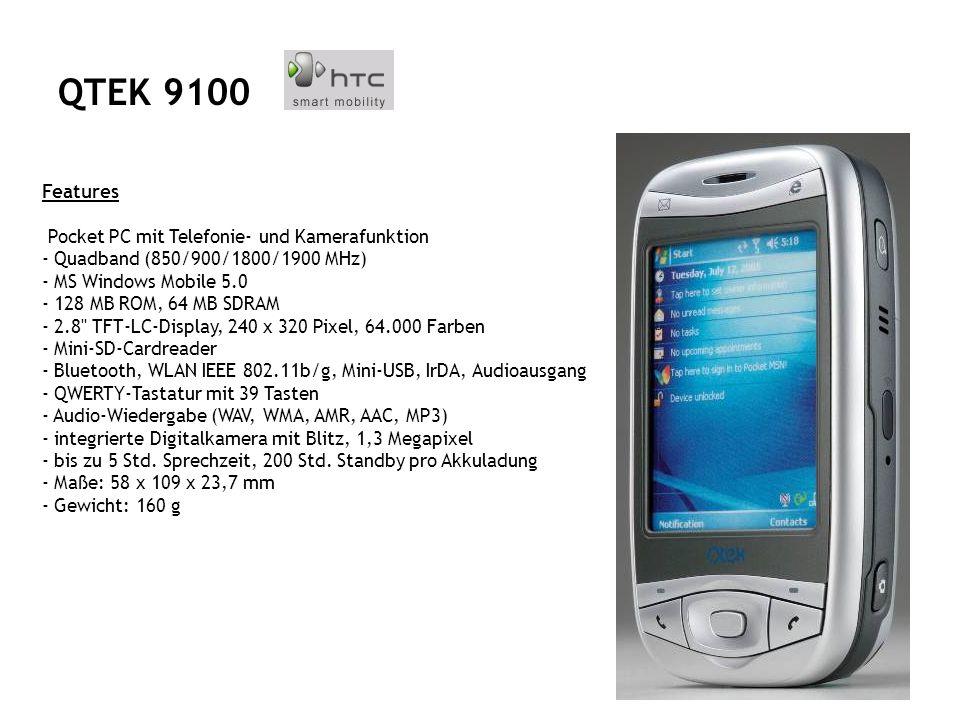 Features GSM/GPRS/UMTS Triband-Handy (GSM 900/1800/1900) Prozessortyp Intel Bulverde 520 MHz Betriebssystem Windows Mobile 5.0 Speicher 128 MB ROM, 64 MB SD-RAM Display 3,6 Zoll TFT-Touchscreen, 640 x 480 Pixel, 65000 Farben Speicherkartenerweiterung SD Schnittstellen WLAN, Bluetooth, IrDA, Mini-USB Tastatur 62 Tasten Special Features Lautsprecher, Mikrofon, 1.3 Megapixelkamera mit Blitzlicht Akku-Laufzeit 250 Stunden Maße 81 x 127 x 25 mm Gewicht 285 g QTEK 9000