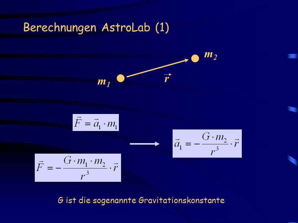 Berechnungen AstroLab (1) m1m1 m2m2 r G ist die sogenannte Gravitationskonstante