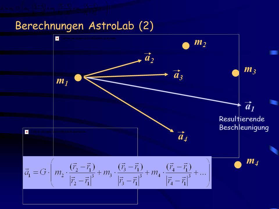 Berechnungen AstroLab (2) m1m1 m2m2 a2a2 m3m3 m4m4 a3a3 a4a4 a1a1 Resultierende Beschleunigung