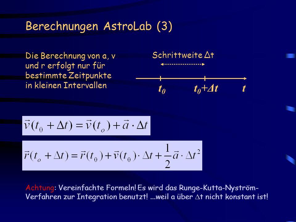 Berechnungen AstroLab (3) Achtung: Vereinfachte Formeln! Es wird das Runge-Kutta-Nyström- Verfahren zur Integration benutzt!...weil a über t nicht kon