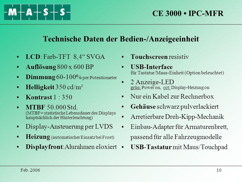 Feb. 200610 Technische Daten der Bedien-/Anzeigeeinheit LCD: Farb-TFT 8,4 SVGA Auflösung 800 x 600 BP Dimmung 60-100% per Potentiometer Helligkeit 350