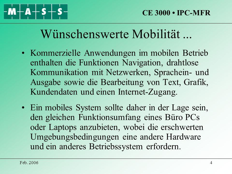 Feb. 20064 Wünschenswerte Mobilität... Kommerzielle Anwendungen im mobilen Betrieb enthalten die Funktionen Navigation, drahtlose Kommunikation mit Ne