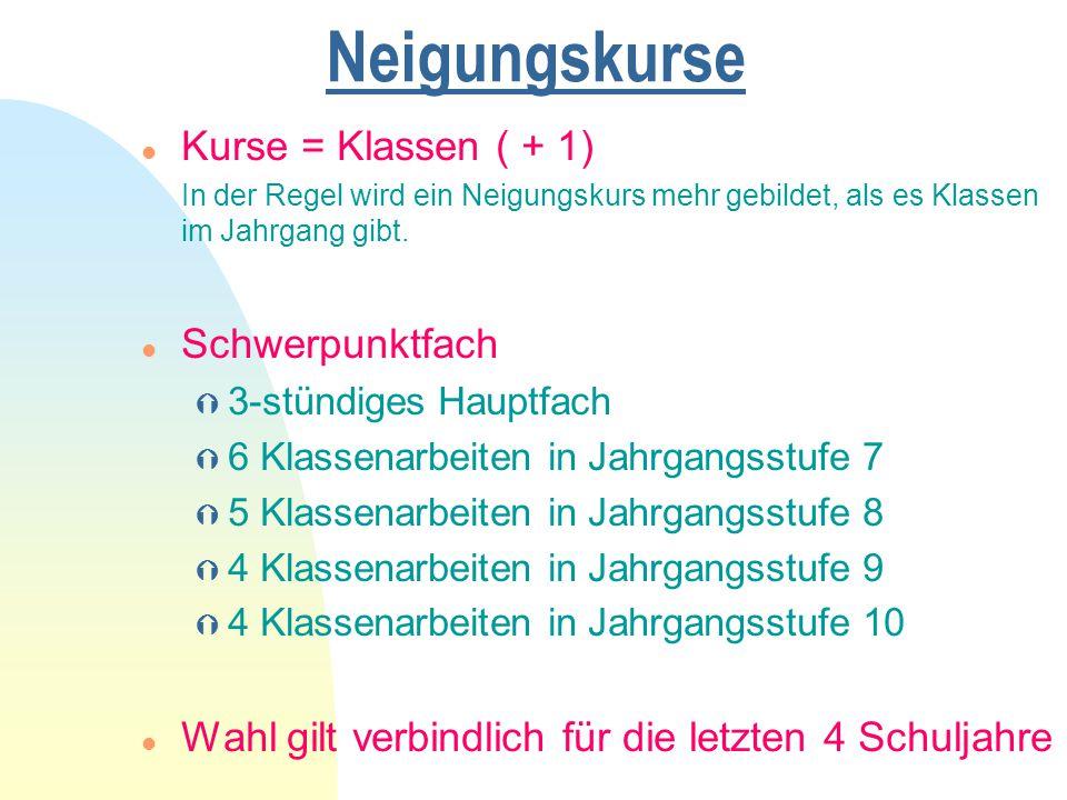 Neigungskurse l Kurse = Klassen ( + 1) In der Regel wird ein Neigungskurs mehr gebildet, als es Klassen im Jahrgang gibt. l Schwerpunktfach Ý 3-stündi