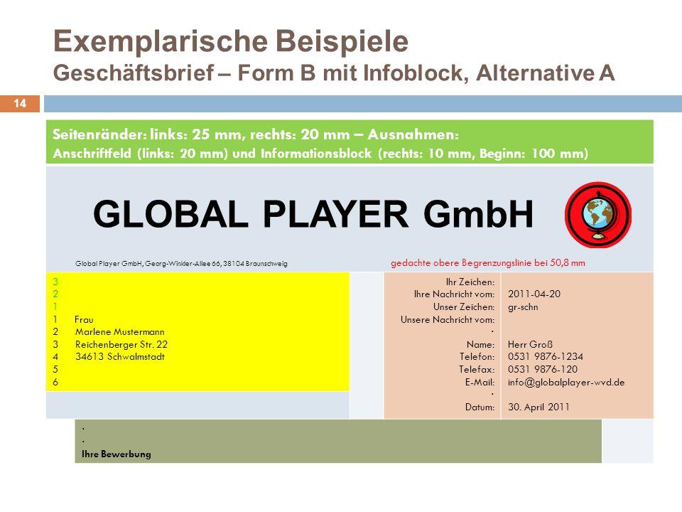 Exemplarische Beispiele Geschäftsbrief – Form B mit Infoblock, Alternative A 14 Seitenränder: links: 25 mm, rechts: 20 mm – Ausnahmen: Anschriftfeld (