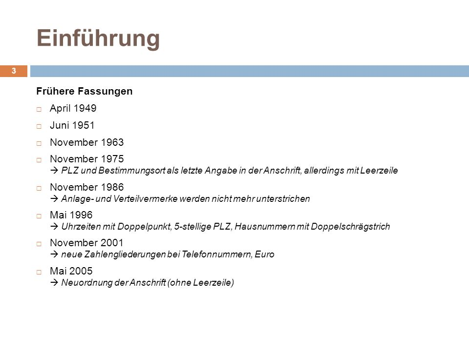Grundsätzliche Änderungen der Neufassung 2011 4 Einbindung der bisherigen eigenständigen DIN 676 (Geschäftsbriefe – Einzelvordrucke und Endlosvordrucke) in DIN 5008 Einfügung bzw.