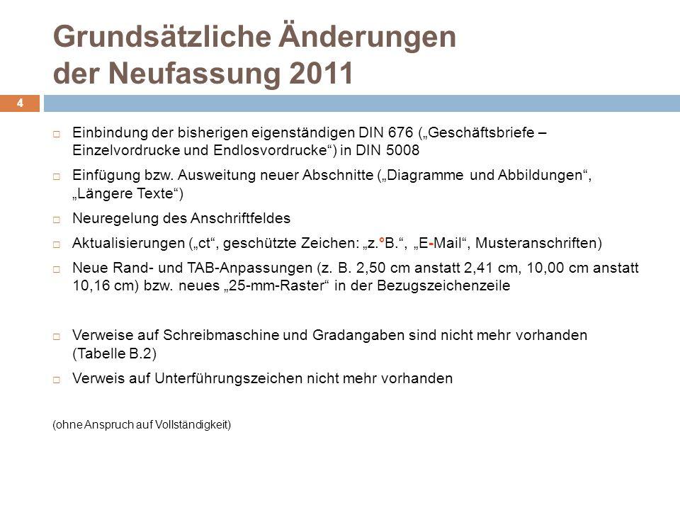 Grundsätzliche Änderungen der Neufassung 2011 4 Einbindung der bisherigen eigenständigen DIN 676 (Geschäftsbriefe – Einzelvordrucke und Endlosvordruck