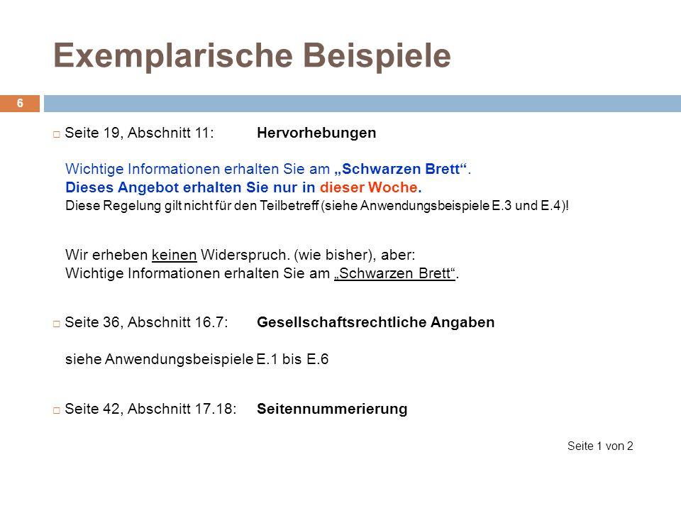 Exemplarische Beispiele 6 Seite 19, Abschnitt 11:Hervorhebungen Wichtige Informationen erhalten Sie am Schwarzen Brett. Dieses Angebot erhalten Sie nu