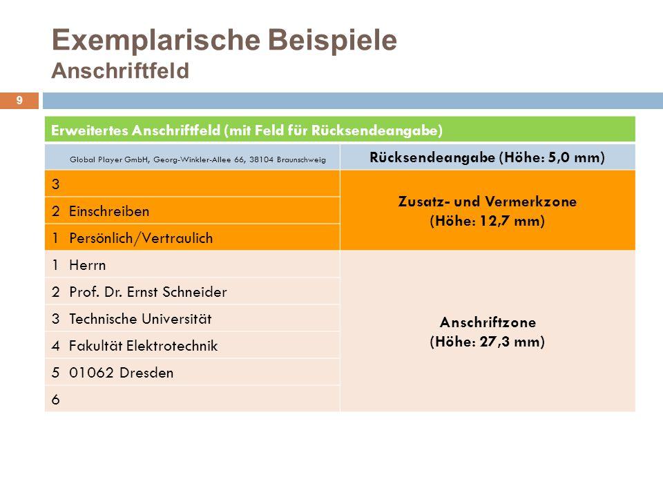 Exemplarische Beispiele Anschriftfeld 10 NEU: Erweitertes Anschriftfeld (mit Zusatz- und Vermerkzone sowie Rücksendeangabe) 5 Zusatz- und Vermerkzone mit Rücksendeangabe (Höhe: 17,7 mm) 4 3 2 Bundesverwaltungsamt, 50728 Köln 1 Bei Umzug mit neuer Anschrift zurück.