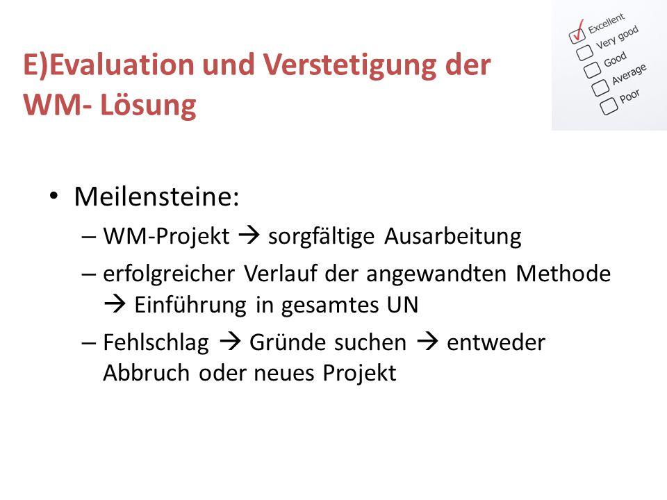 Meilensteine: – WM-Projekt sorgfältige Ausarbeitung – erfolgreicher Verlauf der angewandten Methode Einführung in gesamtes UN – Fehlschlag Gründe such