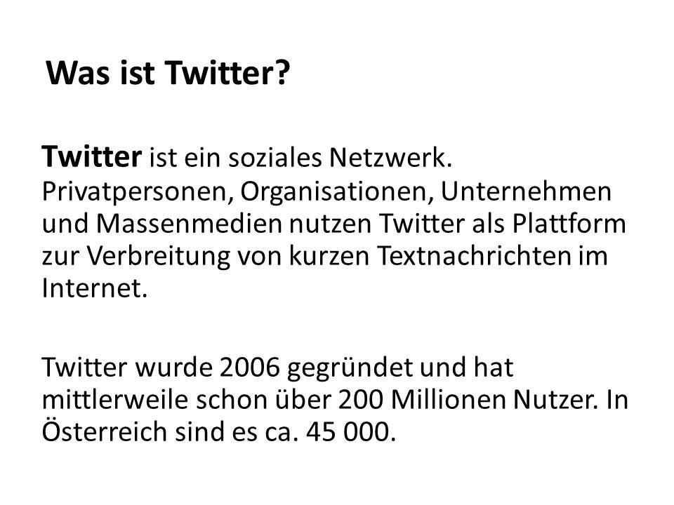 Twitter ist ein soziales Netzwerk. Privatpersonen, Organisationen, Unternehmen und Massenmedien nutzen Twitter als Plattform zur Verbreitung von kurze