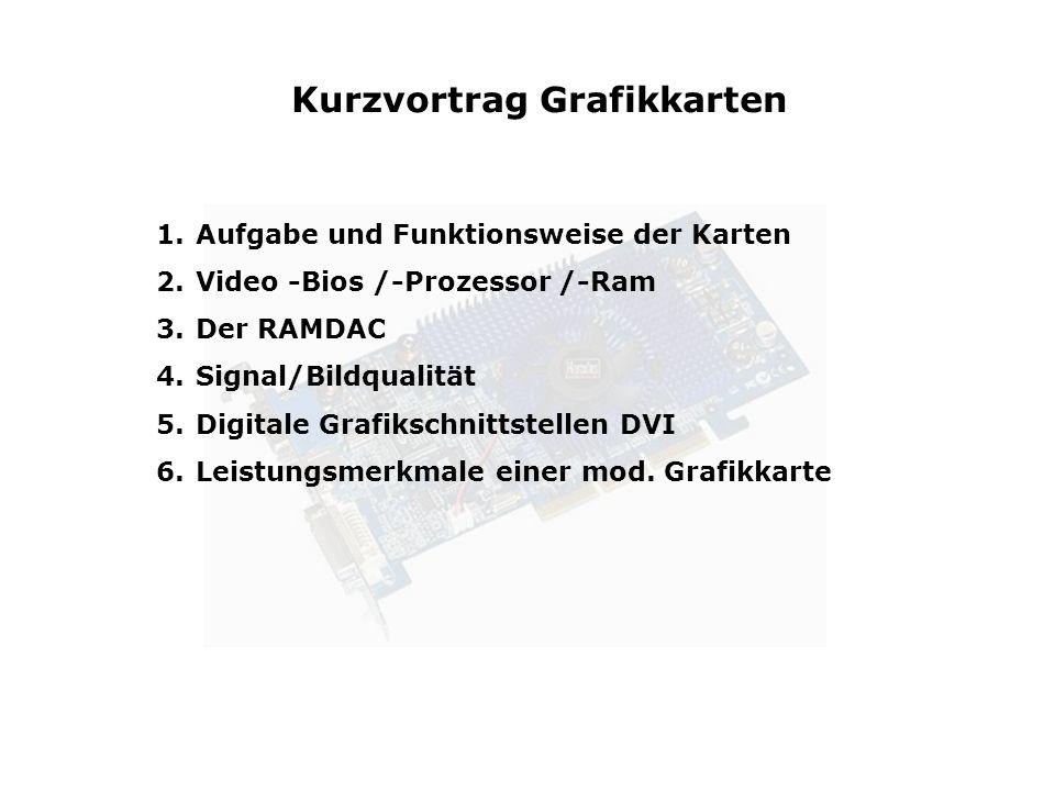 1.Aufgabe und Funktionsweise der Karten 2.Video -Bios /-Prozessor /-Ram 3.Der RAMDAC 4.Signal/Bildqualität 5.Digitale Grafikschnittstellen DVI 6.Leist