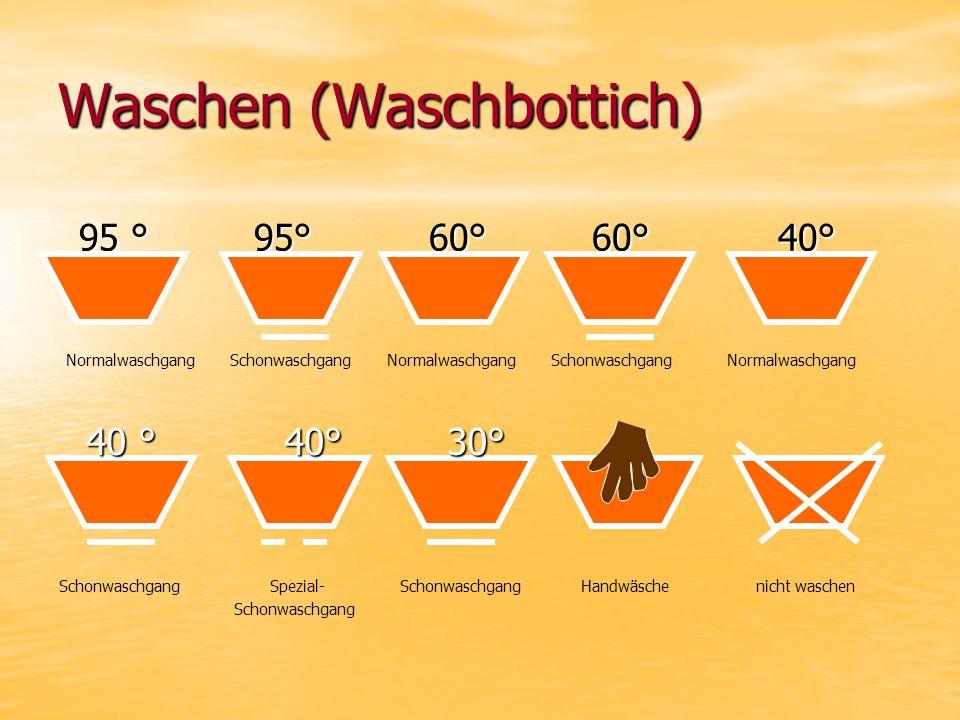 Waschen (Waschbottich) 95 ° 95° 60° 60° 40° 95 ° 95° 60° 60° 40° 40 ° 40° 30° 40 ° 40° 30° Normalwaschgang Schonwaschgang Normalwaschgang Schonwaschgang Normalwaschgang Schonwaschgang Spezial- Schonwaschgang Handwäsche nicht waschen Schonwaschgang