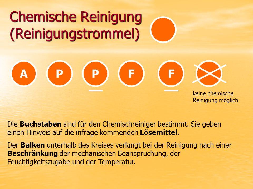 Chemische Reinigung (Reinigungstrommel) APPFF keine chemische Reinigung möglich Die Buchstaben sind für den Chemischreiniger bestimmt.