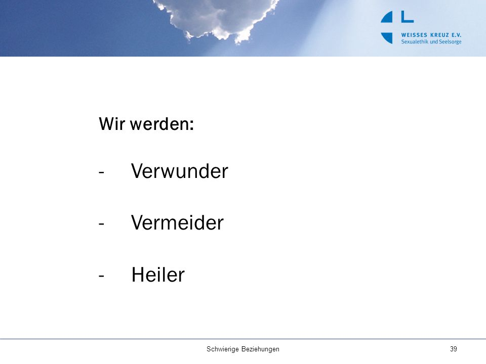 Wir werden: -Verwunder -Vermeider -Heiler 39Schwierige Beziehungen